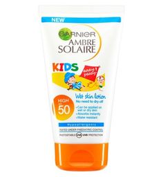 Garnier Ambre Solaire Kids Wet Skin Lotion SPF50 150ml - Boots