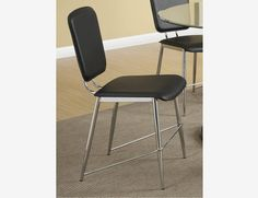 2 PC Dining Side Chairs Black Leather Seat Back Coaster 120992