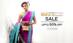 Festivities is in the air! #Shatika announces the Grand #MahaShivaratriSale where the entire collection at Shatika is at upto 50% off! Hurry, join in the festivities! #Onlineshopping #Handloomsarees #Discounts