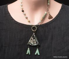 Rustic assemblage jewelry composed of triangles, The Berber necklace, desert colors and textures, unique OOAK