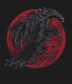 WOW-ZA!! Is this a VALENTINE Raven or What??? Look at that Blood Red HEART Moon!!! byBullet Bacalzo