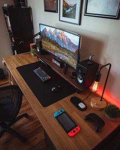 Computer Gaming Room, Computer Desk Setup, Gaming Room Setup, Pc Setup, Bedroom Setup, Room Design Bedroom, Home Office Setup, Home Office Design, Studio Interior