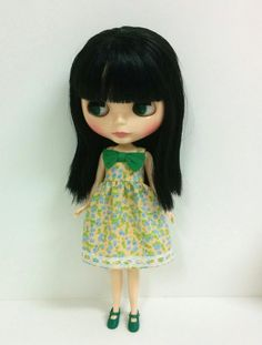 Floral Dress with Green Bow for Neo Blythe & by SKSungDesigns