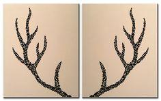 Deer Antlers   Original Painting on Canvas 16x20 by MatriXArtbyDV, $79.00