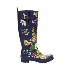Joules Women's Floral Rain Boots - Navy ($75) ❤ liked on Polyvore featuring shoes, boots, navy, navy rain boots, flower boots, rubber boots, navy boots and print rain boots