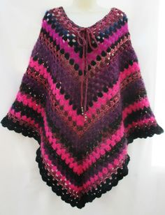 Vintage Retro Hand Crafted Mohair Wool Blends Crochet Poncho Hippy Granny NEW
