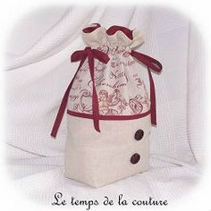 sac pochon linge lingerie beige écru bordeaux ange angelot dijon gien chatillon loire couture création décoration ameublement fait main le temps de la couture