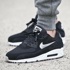 Nike Air Max 90 Essential Zapatos Para Hombre Talla 12 537384 -047 Black / Silver Metallic