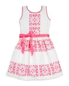 Blush by Us Angels Girls' Lace Cutout Dress - Sizes 7-16 | Cotton/polyester; lining: polyester | Hand wash | Imported | Fits true to size | Scoop neck, sleeveless, fitted bodice | Ribbon belt at waist
