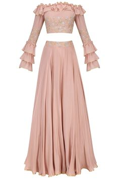 Seema Thukral Blush Pink Off Shoulder Ruffled Croptop with Embroidered Circular Skirt Designer Party Wear Dresses, Indian Designer Outfits, Indian Outfits, Stylish Dresses, Casual Dresses, Lehnga Dress, Lehenga Choli, Indian Skirt, Lehenga Designs