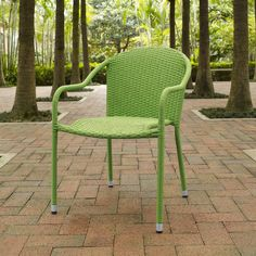 The Crosley Palm Harbor Outdoor Wicker Stackable Chairs - Set of 4 is UV resistant with all-weather wicker to stand up to the elements. These wicker chairs are a welcome seat that will enliven your outdoor space. Outdoor Wicker Chairs, Patio Rocking Chairs, Outdoor Armchair, Outdoor Dining Chairs, Dining Arm Chair, Patio Chairs, Outdoor Furniture, Arm Chairs, Adirondack Chairs