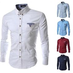 Men Dress Shirt Plaid Collar Slim Fit Chemise Long sleeve Casual Shirt