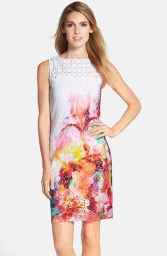 Julia Jordan Floral Print Laser Cut Scuba Sheath Dress available at #Nordstrom via @jseverydayfash