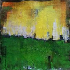 Abstract landscape green, yellow, white & black by AbstractArtDesigns on Etsy