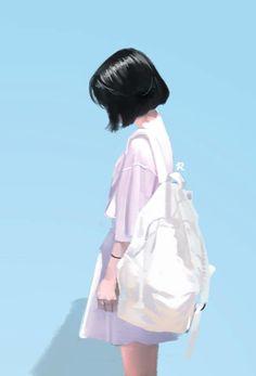 Cute Art Styles, Cartoon Art Styles, Anime Scenery Wallpaper, Anime Artwork, Anime Girl Cute, Anime Art Girl, Cover Wattpad, Cute Girl Wallpaper, Digital Art Girl