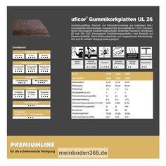 uficor Gummikorkplatten UL 26 Diese Dämmplatten aus Kork-/Gummigranulat-Verbundmaterial verfügen über eine sehr gute Druckstabilität und zeichnen sich zudem durch ihre Eigenschaften im Bezug auf Trittschall- und Wärmedämmung aus. Selbst kleinere Unebenheiten des Bodens gleichen diese Platten problemlos aus. Je nach Stärke ist eine Trittschallverbesserung bis zu 22 dBA möglich.