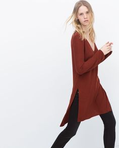 Image 4 of LONG SWEATER WITH SIDE SLITS from Zara
