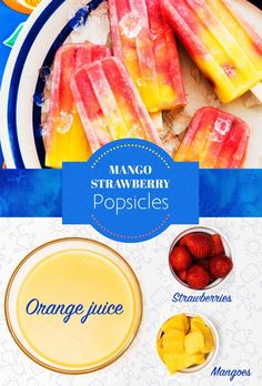 You'll need:* 1 cup of orange juice* 1 cup of strawberries* 2 cups of mangoes, cubedBlend strawberries with 1/4 cup of orange juice. Pour into popsicle mold to the 1/3 mark. Then blend the mango chunks with 3/4 cup of orange juice. Fill the remaining part of the mold with the mango puree. Stir the mixture around to get the ombre effect. Add whole strawberry chunks if you (and your kids) like. 🍓