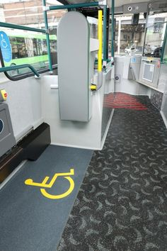 Kits can be made to order to incorporate any logo or safety signage specified.  Here, the wheelchair sign contrasts  vividly with Altro Windmill for Go Buses
