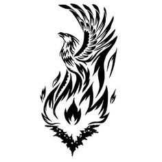 Phoenix Rising From Fire Tattoo Design