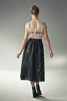 Love this laser cut midi-length skirt!  http://www.pinterest.com/fabricprinting/leather-fashion/