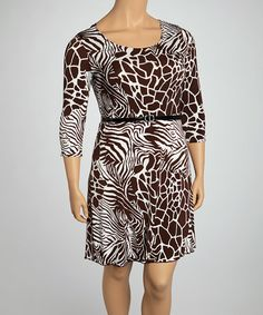 Take a look at this Brown & White Safari Belted Three-Quarter Sleeve Dress - Plus by Star Vixen on #zulily today!