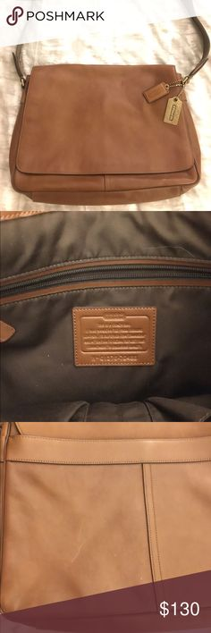 """Coach leather messenger bag Unisex messenger bag. Tan leather Coach bag. Style G1376-70486. Magnetic flap closure. Interior and exterior pockets. Comfortable strap with adjustable length for wearing both over the shoulder and across the body. Gently used, good condition. Minor scratch on the back of the bag as depicted in photo. Approximately 15""""L x 10""""H x 3""""W. Coach Bags"""