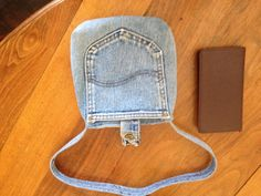 Denim Project Bag / Blue Jean Purse / Lined / Button Closure / UPcycled - Repurposed / 3 Pockets / Lee Wrangler / Brand Name / Child's Purse...