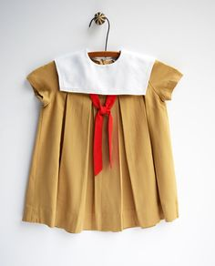 Tan and Red Sailor Toddler Dress Vintage by StarGlowVintage