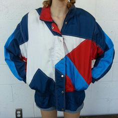 Vintage 80s windbreaker.  Women's M. Guys, there's a star on this thing.  Great condition. Has pockets and shoulder pads. #80s #windbreaker #star #vintage #running #jogging #usa #colorblocking