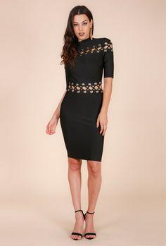 15c24ce8335  MARYANA  MOCK NECK LACE UP EYELET BANDAGE DRESS (K4892) - WOW Couture