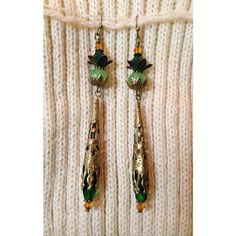 Antique Brass CRYSTAL Beaded Earrings Emerald Genuine Swarovski... (€17) ❤ liked on Polyvore featuring jewelry and earrings