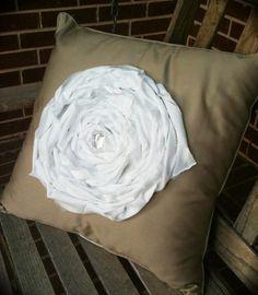 Abbey - Khaki Pillow with White Flower