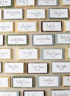 Hand-cut bars of soap doubled as favors and seating assignments, thanks to calligraphed cards by Nicole Miyuki.