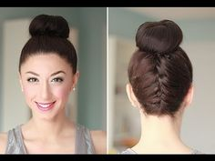 Upside Down French Braid Bun Style.
