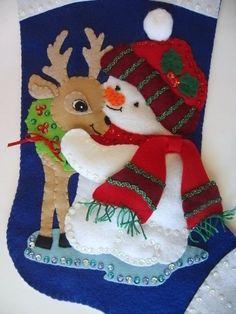 Muñeco de nieve con ciervos Navidad vacaciones Vintage recién | Etsy
