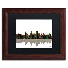 Marlene Watson 'Anchorage Alaska Skyline II' Matte, Wood Framed Wall Art