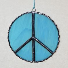 "Stained Glass Suncatcher - Peace Symbol, Turquoise Color Glass, Copper Solder 3.5"" 15.00"