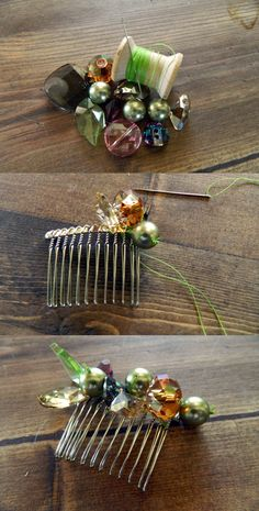 Hair Accessories Jewelry DIY Embellished Hair Comb: Part Three and Four Crea Fimo, Hair Beads, Hair Ornaments, Hair Jewelry, Bridal Jewelry, Wedding Hair Accessories, Diy Hairstyles, Hair Pieces, Jewelry Crafts