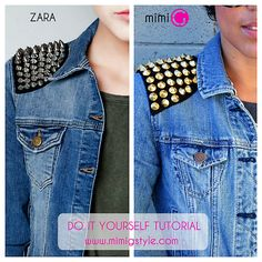 DIY Zara Knockoff Studded Denim Jacket Tutorial from Mimi G. here. Left Photo: $99 Zara Studded Denim Jacket here, Right Photo: DIY from Mimi G. *No sewing machine needed and you can take the studded shoulders off when you tire of them....I love this website!! All DIY