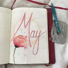 Loving this watercolor capabilities with Tombow pens. Very fun. Bullet Journal Title Page, May Bullet Journal, Bullet Journals, Tombow Pens, Journal Covers, Bujo, Doodles, Artsy, Watercolor