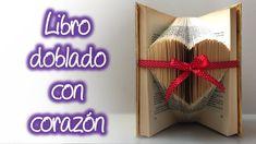 Libro doblado con corazón, heart of folding book Origami, Book Letters, Book Folding, Handmade Polymer Clay, Christmas Colors, Diy Paper, Diy Crafts, Neon Signs, Lettering