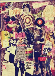 Collage Del Crapo by i-heart-ringo on deviantART {seemingly random cut & paste} Love Collage, Paper Collage Art, Collage Ideas, Fashion Mag, Sixties Fashion, Twitter Backgrounds, Vintage Backgrounds, My Art Studio, Fashion Collage