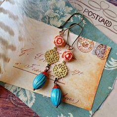 whimsy. cottage chic beaded earrings long dangles by FabFleaMarket
