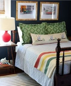 Day 3: My current favorite room on the internet — Zeenat Arsiwalla Farmhouse End Tables, Spindle Bed, Red Table Lamp, Nautical Bedroom, Striped Quilt, Indian Summer, Blue Walls, Boy Room, Summer Days