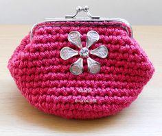 Crochet Coin Purse Pink Metal Frame
