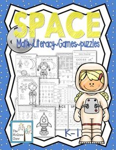 SPACE Activity Pack!Math~Literacy~Games~PuzzlesUse this fun set during your space unit! This is not intended to teach about space, but to bring in some math and literacy concepts to your space unit!PLEASE CLICK PREVIEW FOR MORE DETAILS OF ACTIVITIES!MATH2 pattern practice pages 1 measuring practice page (2 options: 1 page uses a ruler with inches, the 2nd uses a ruler with an object.)3 estimation jar pages PLUS demonstration page and student worksheet.