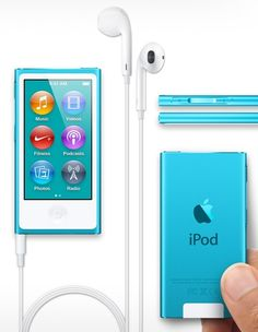 New iPod Nano. Blue. different headphones <3