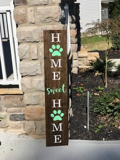 The perfect large front porch sign to welcome guests to your home! Approximately Stain: Ebony Lettering: White Paw Print & Sweet: Mint Green ( Hand painted sealed & protected for the outdoors! All wood designs are handcrafted from wood pine markings and Outdoor Welcome Sign, Welcome Signs Front Door, Wooden Welcome Signs, Front Porch Signs, Outdoor Signs, Wooden Signs, Front Porches, Dog Lover Gifts, Dog Gifts