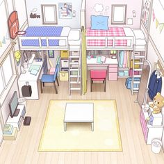 Aesthetic Bedroom, Aesthetic Art, Casa Anime, Bedroom Drawing, Casas The Sims 4, Isometric Art, Anime Scenery, My Room, Cute Art
